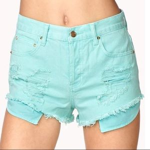 F21 Distressed High Waisted Shorts